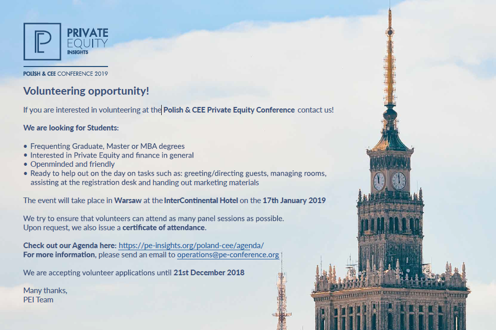 Polish & CEE Private Equity Conference is looking for volunteers!